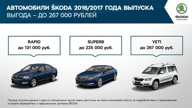 Акционные предложения от Skoda в апреле 2017 года